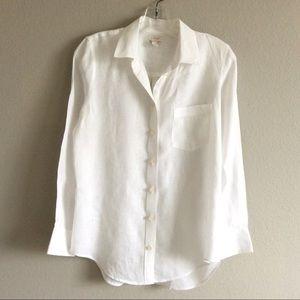 J Crew Factory   White Linen Button Down Shirt